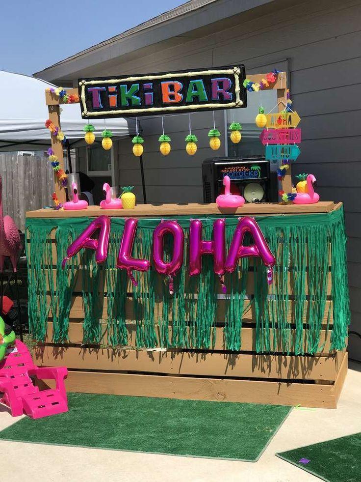 Pineapple & Flamingo Luau Birthday Party Ideas | Photo 1 of 19 | Catch My Party  - Birthday - #Birthday #Catch #Flamingo #Ideas #Luau #Party #Photo #Pineapple #hawaiianluauparty
