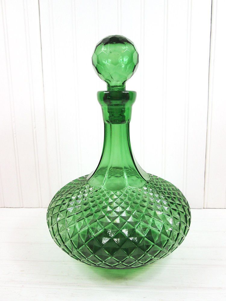 Decorative Bottles With Stoppers Fascinating Vintage Green Genie Bottle Liquor Decanter Glass Retro Barware W Design Ideas