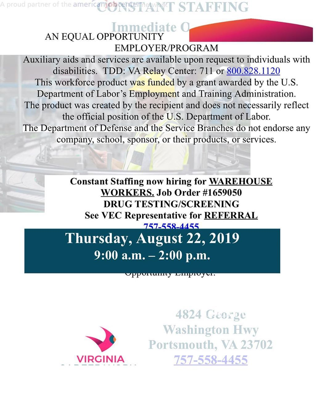 Attention Constant Staffing Hiring Event Now Hiring Warehouse Workers Job Order 1659050 Drug Testing Screening S Job Opening Jobs Hiring Job Opportunities