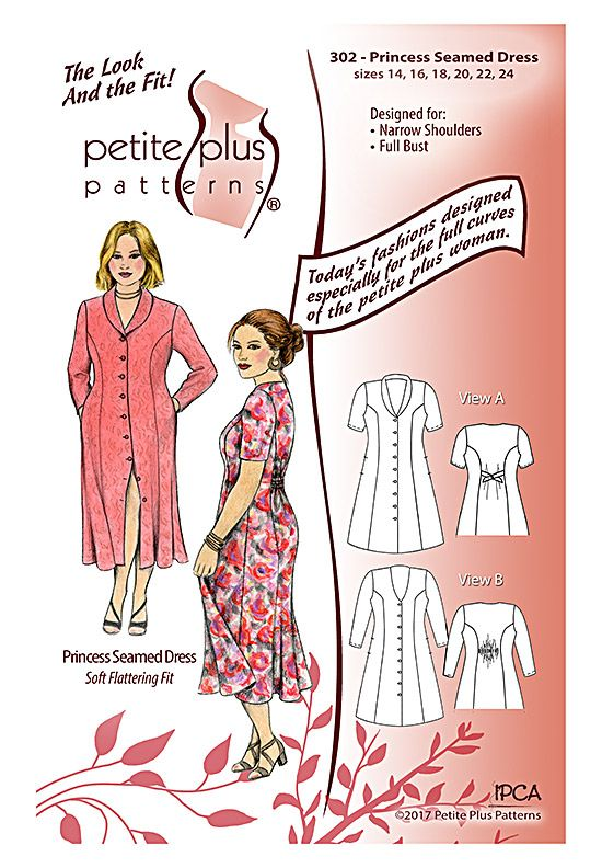 Pattern cover. Details of Petite Plus Patterns #302 Princess Seamed ...