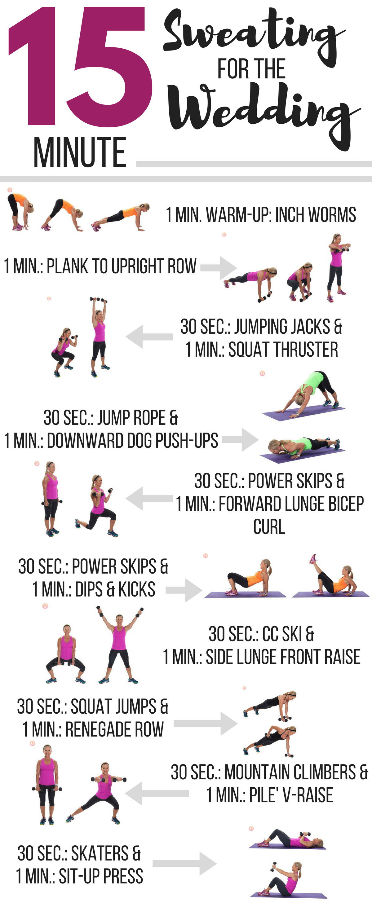 15 Minute Sweating For The Wedding Workout Get Healthy U Wedding Workout Plan Wedding Workout Easy Workouts