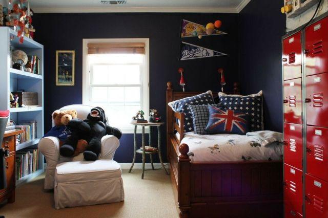Kinderzimmer Matrosen Blau Rot Einrichtungsideen Jungen Wandfarbe