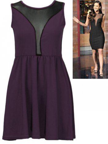 KarmaClothing Purple Mesh Insert Space Skater Dress