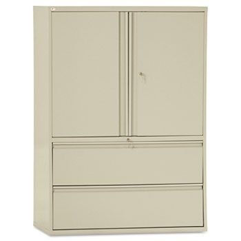 New - Two-Drawer Lateral File Cabinet With Storage 42w x 19-1/4d x 65-1/4h Putty by Alera by Alera. $827.53. Two 19 1/4  deep file drawers operate on ...  sc 1 st  Pinterest & New - Two-Drawer Lateral File Cabinet With Storage 42w x 19-1/4d x ...