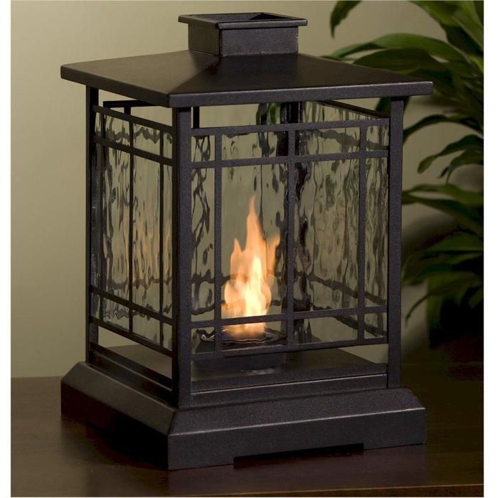 This Lantern Style Fireplace Burns Clean Gel Fuel, Adding Ambiance Indoors  Or Out.