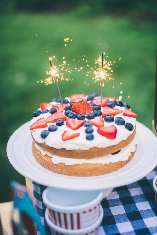 Image result for july 4th cakes with sparklers in a cake