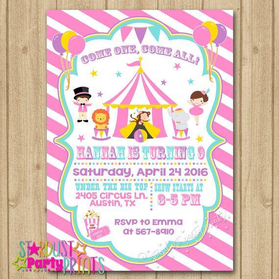 Circus Birthday Invitation, Pink Circus Invitation, Circus