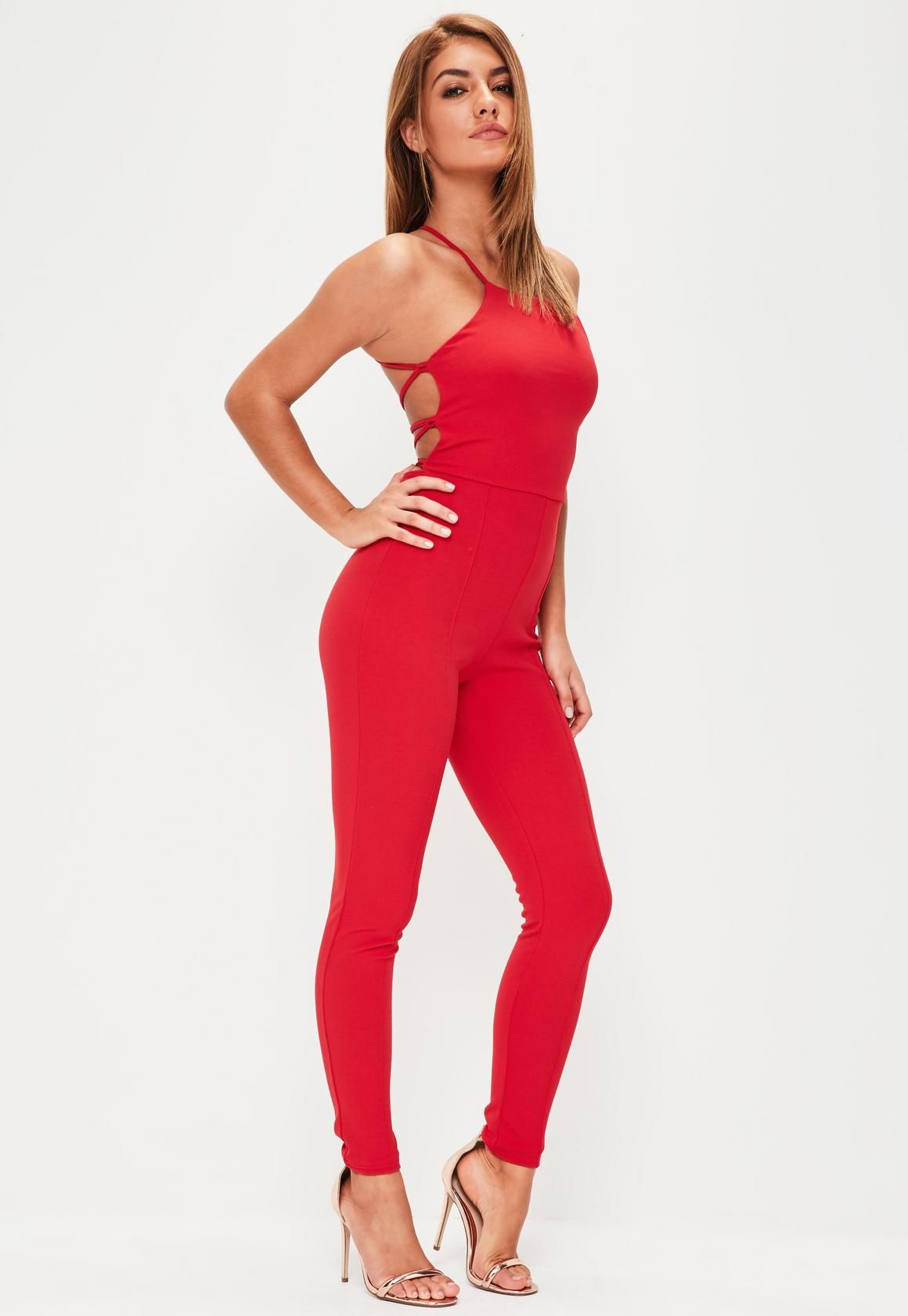 a87253ed04f Missguided - Red Crepe Strappy Back Unitard Jumpsuit