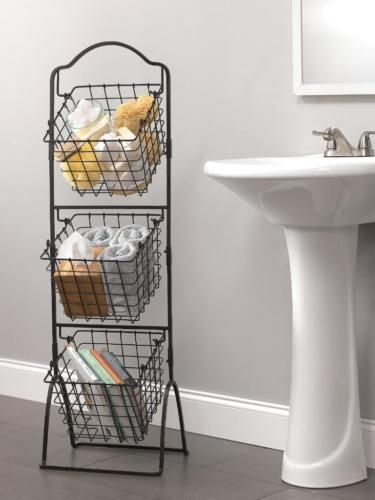 Wonderful Wire Basket Storage Bins Organizer Rack Fruit Vegetable Stand 3 Tier Black  Metal