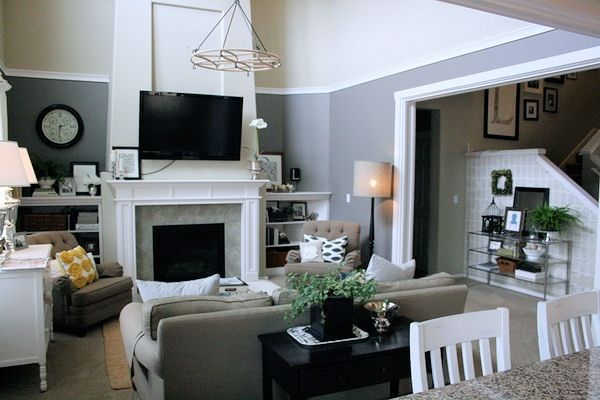 trim and paint to break up the two story room i do not like - Slate Gray Living Room Ideas