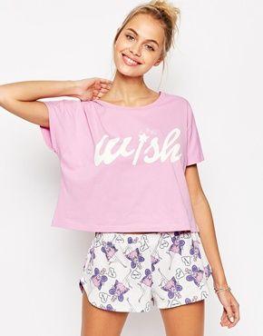ASOS - 'I Wish' Fairy - Pigiama con T-shirt e pantaloncini