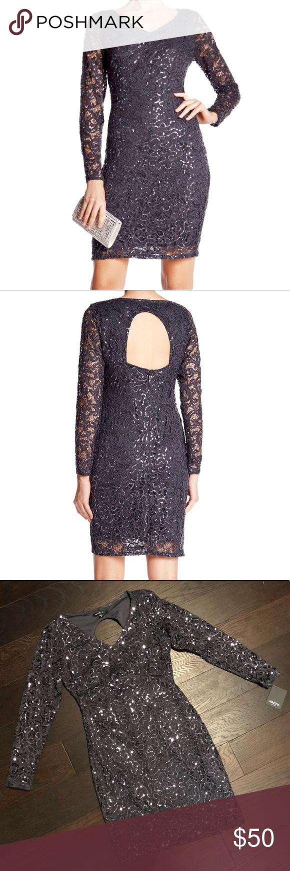 Marina sequin lace long sleeve back cutout dress nwt marina dress