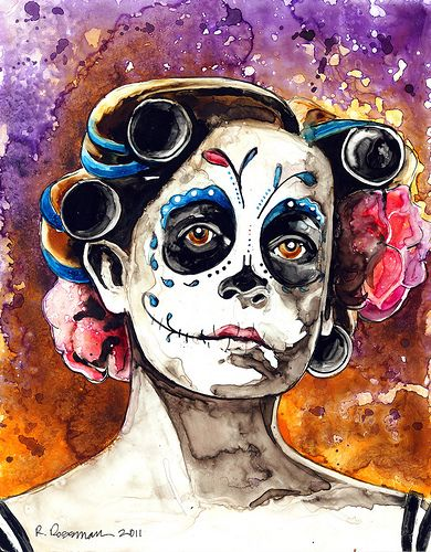 Oregon Artist Rachael Rossman Who Works Primarily With Watercolor On YUPO Gearing Up For A Dia De Los Muertos Painting Project