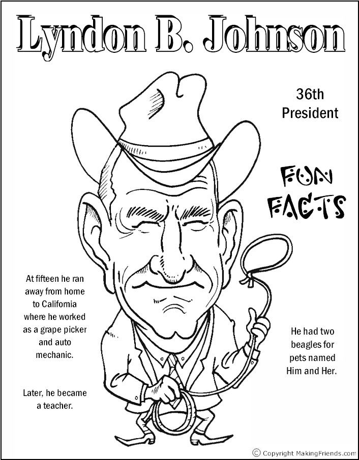 lyndon johnson coloring page