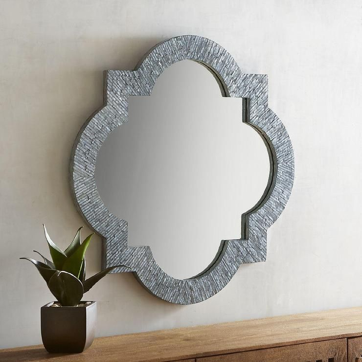 Capiz gray quatrefoil mirror with images pier one wall