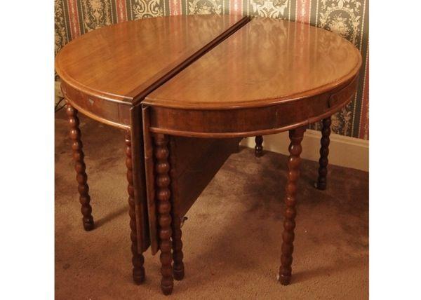 Two Bobbin Leg Demilune Drop Leaf Tables Creating Larger Table