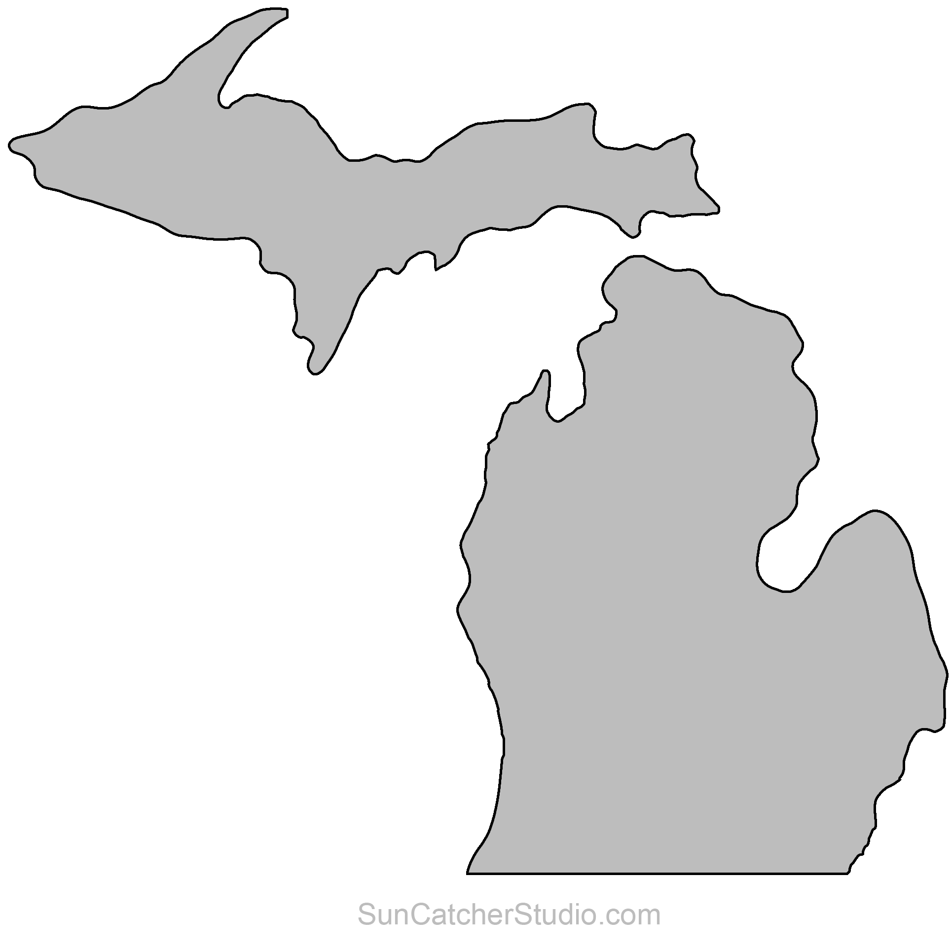 Michigan Map Outline Printable State Shape Stencil Pattern Michigan Art Michigan Decor Michigan Outline