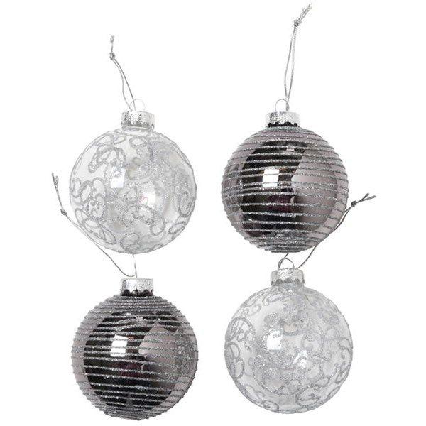 Julkula 4-pack,7 cm Silver Glas - Julgranspynt - Rusta