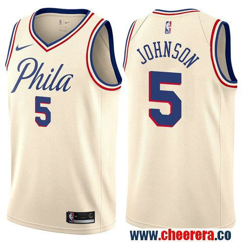 b143c0e50a0 Philadelphia 76ers  5 Amir Johnson Cream Nike NBA Men s Stitched Swingman Jersey  City Edition