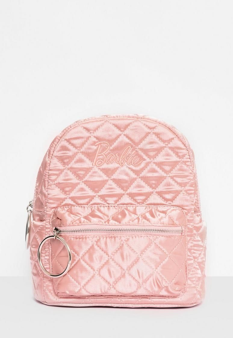 d6012e9735 Barbie x Missguided Pink Satin Embroidered Rucksack