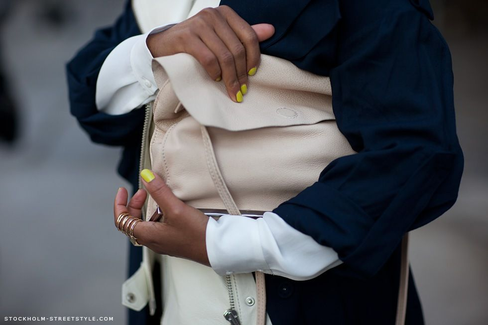 neon nails, buttery beige leather and delicate statement ring - love