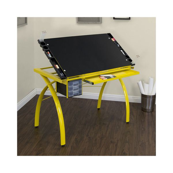 Studio Designs Futura Drafting Table With Glass Top Yellow Legs/Black Glass    10078