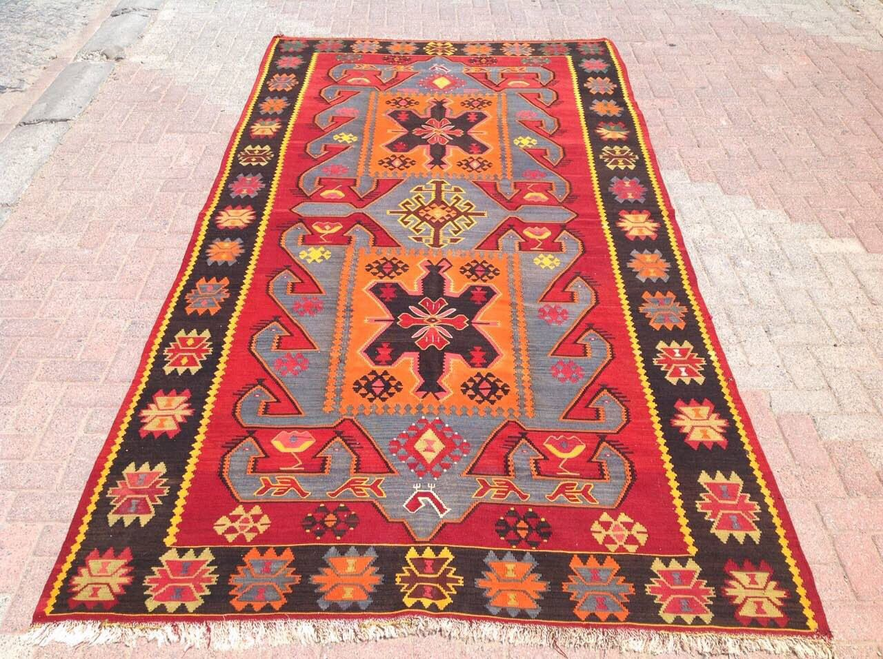 Red Orange Blue Kilim Rug Large Area 139 5 X 71