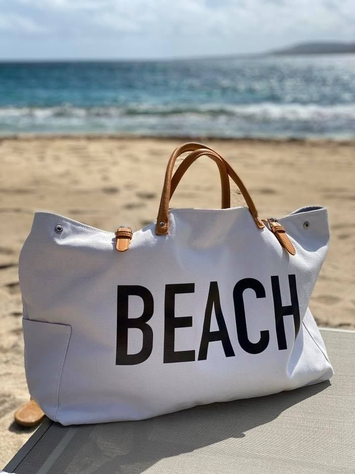 PERSONALIZED Beach Bag XL Zippered Tote Bag Black and White Stripe Beach Tote Bag Rope Handles Vacation Bag