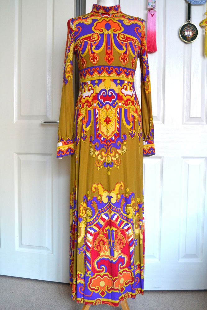 e7e7154e20 Vintage 1970s LEONARD PARIS Psychedelic Print Silk Jersey Maxi Dress ...