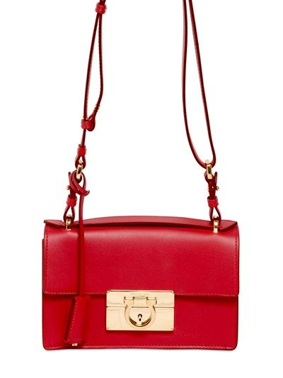 SALVATORE FERRAGAMO - AILEEN BRUSHED LEATHER SHOULDER BAG - LUISAVIAROMA - LUXURY SHOPPING WORLDWIDE SHIPPING - FLORENCE