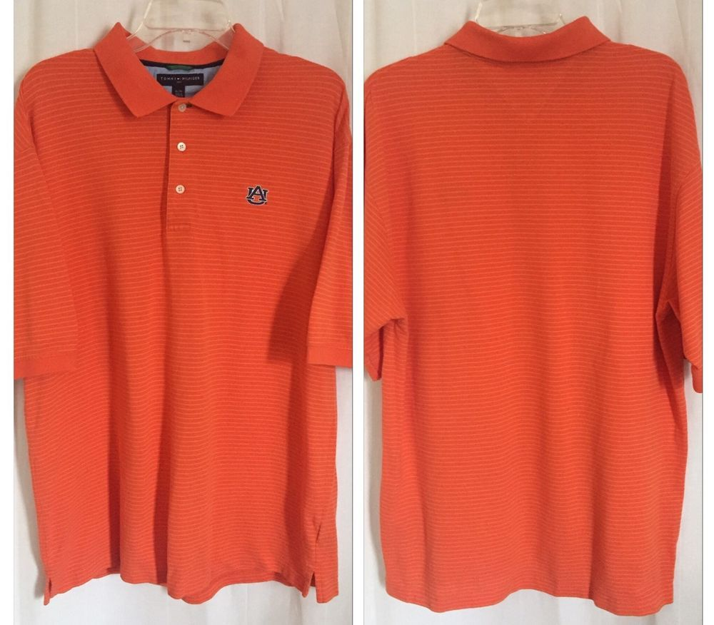 163p Tommy Hilfiger NCAA AU Auburn Tigers Orange Stripe Golf Polo Shirt XL Top #TommyHilfiger #AuburnTigers
