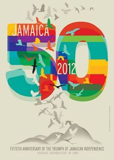 Fiftieth Anniversary Jamaica Les Caraibes The Caribbean Poster Design Graphic Poster Book Design Layout