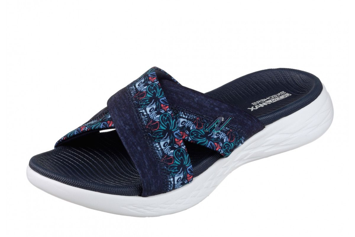 3cde04a90 Skechers On The Go 600 Monarch Navy Floral Women s Comfort Sandals ...