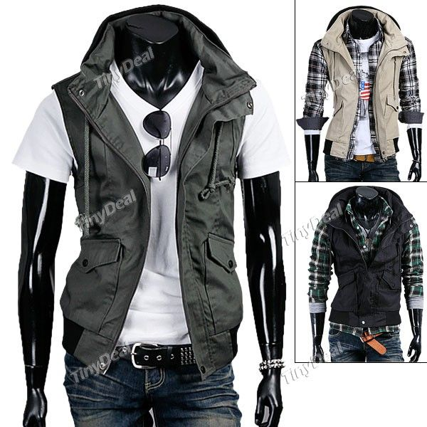 Sleeveless Cotton Double-layered Collar Waistcoat Jacket with Multi-pockets