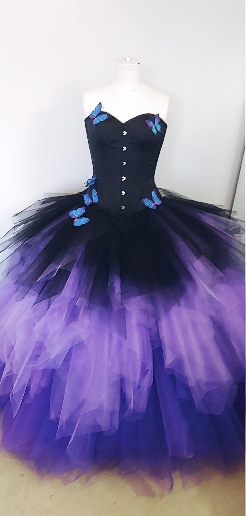 Black Wedding Dress Ombre Bridal Gown Butterfly Dress Plus Etsy Black Wedding Dresses Old Wedding Dresses Etsy Wedding Dress [ 1667 x 794 Pixel ]