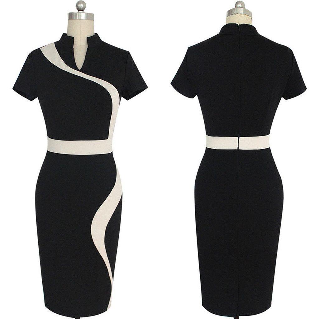 Contrast Black Work Dress