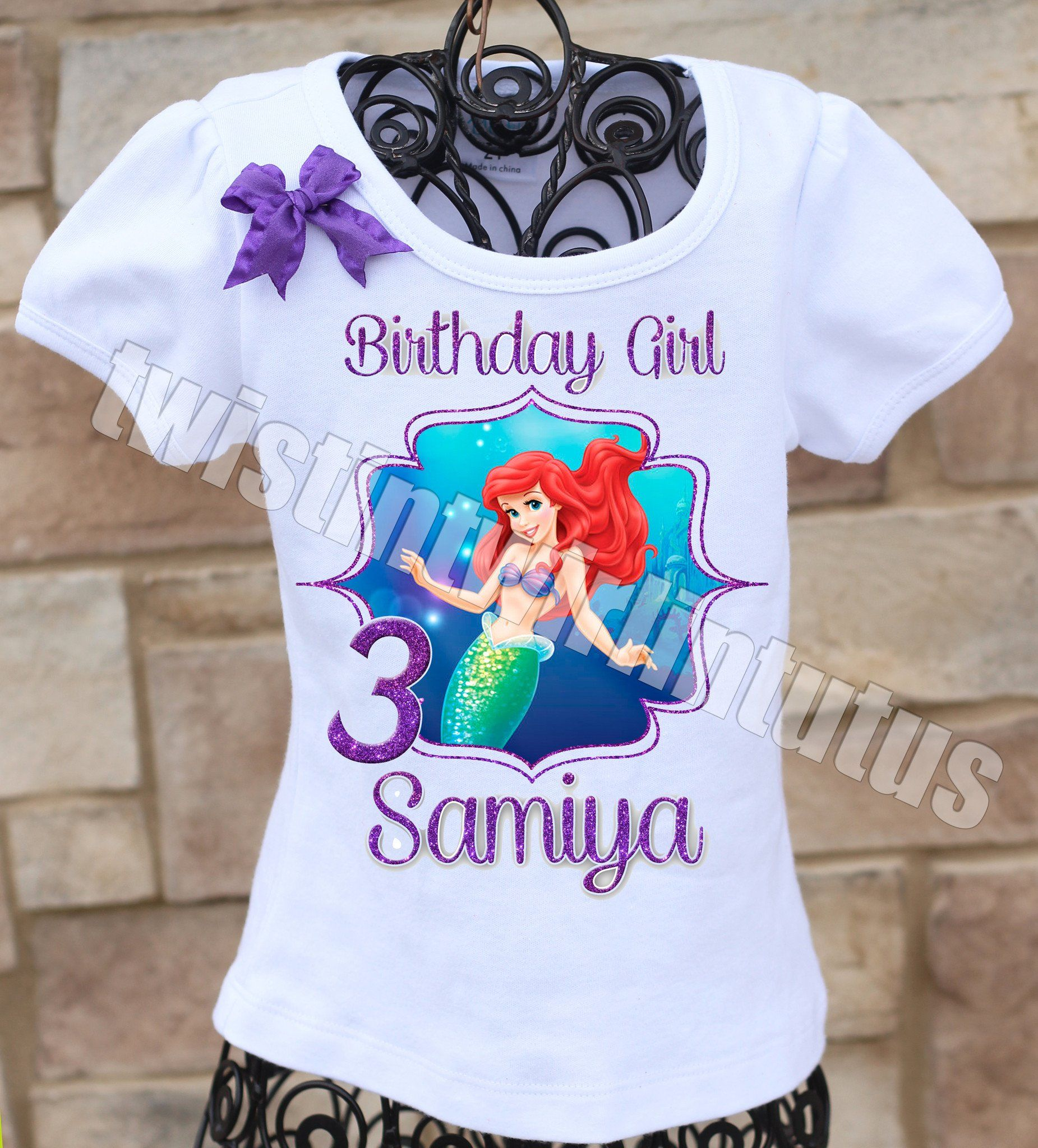 Ariel Little Mermaid Family Birthday Shirts