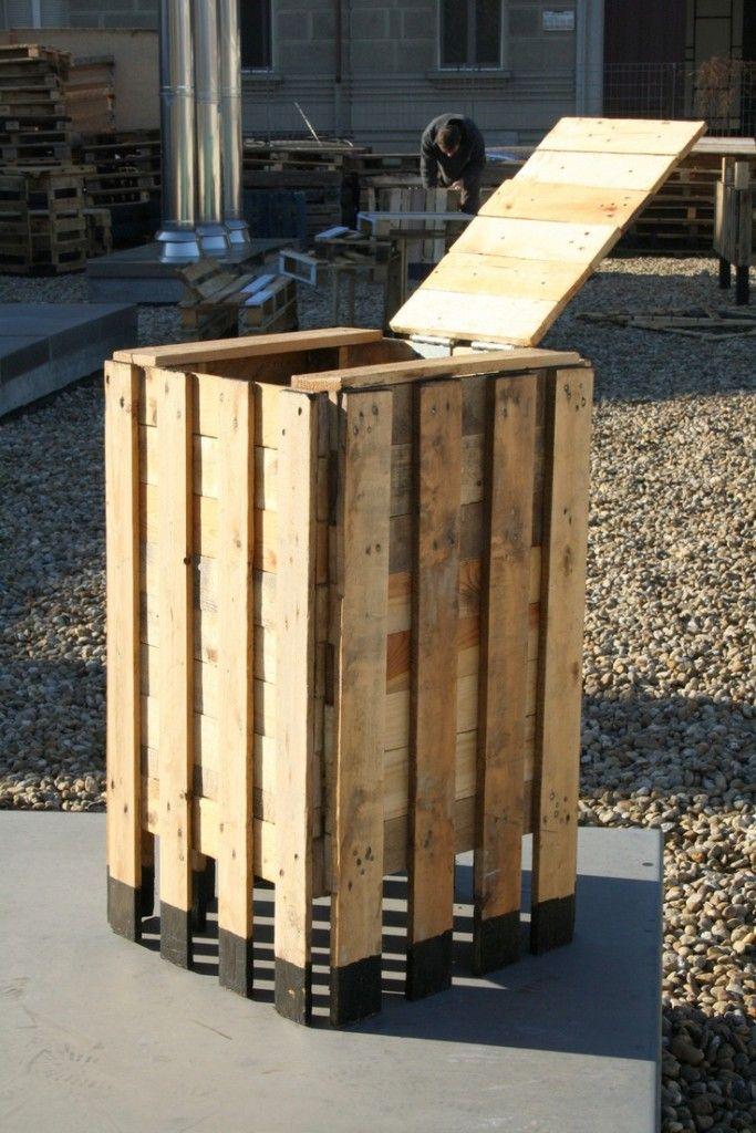 Contenedores hechos con palets muebles de jard n con palets pinterest palets contenedores - Reciclaje de palets de madera ...