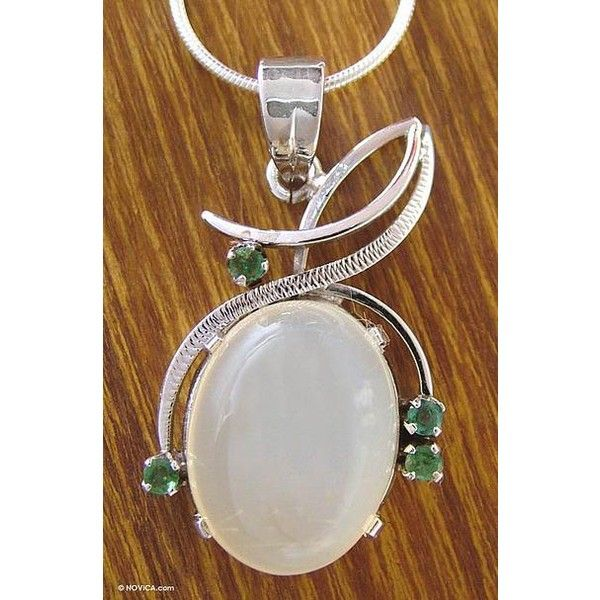 NOVICA Moonstone and emerald pendant necklace ($90) ❤ liked on Polyvore featuring jewelry, necklaces, emerald, pendant, chain necklaces, emerald pendant, moonstone jewelry, emerald necklace and pendants & necklaces
