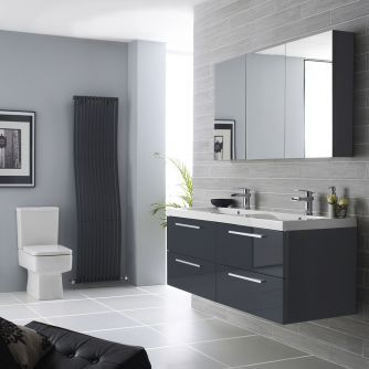 Hudson Reed Quartet 1440mm High Gloss Grey Furniture Pack 997 50 Product Reference Rf035c Bathroom Mirror Cabinetmirror
