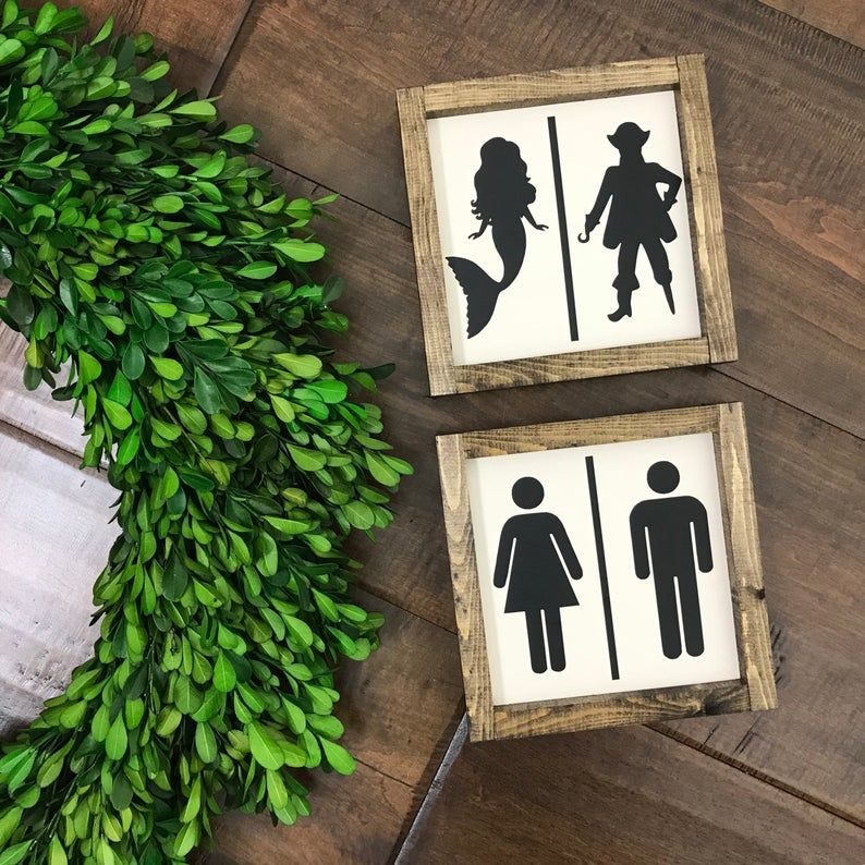 Restroom Sign | Mermaid Sign Pirate Sign | Bathroom Wall Decor | Farmhouse Bathroom | Farmhouse Decor | Bathroom Decor | Kids Bathroom Sign