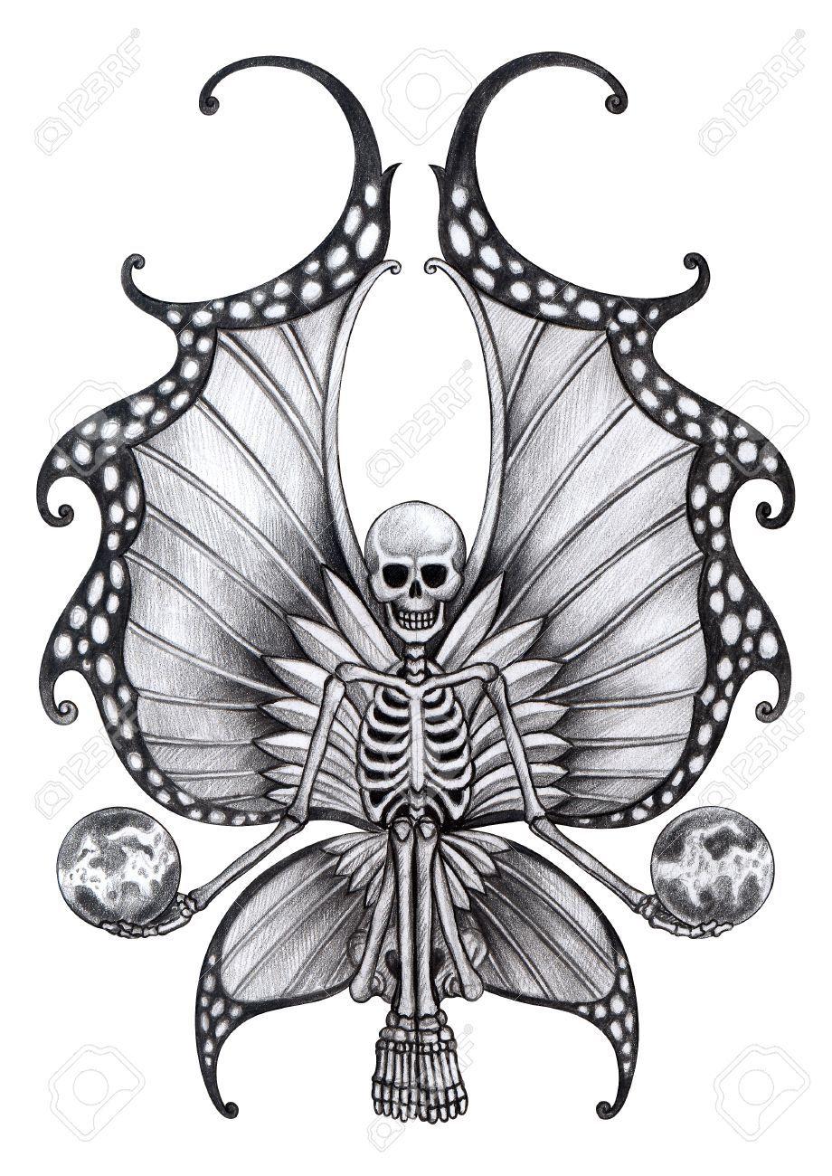 Skull fairy tattoo hand drawing on paper stock photo for Skull fairy tattoos