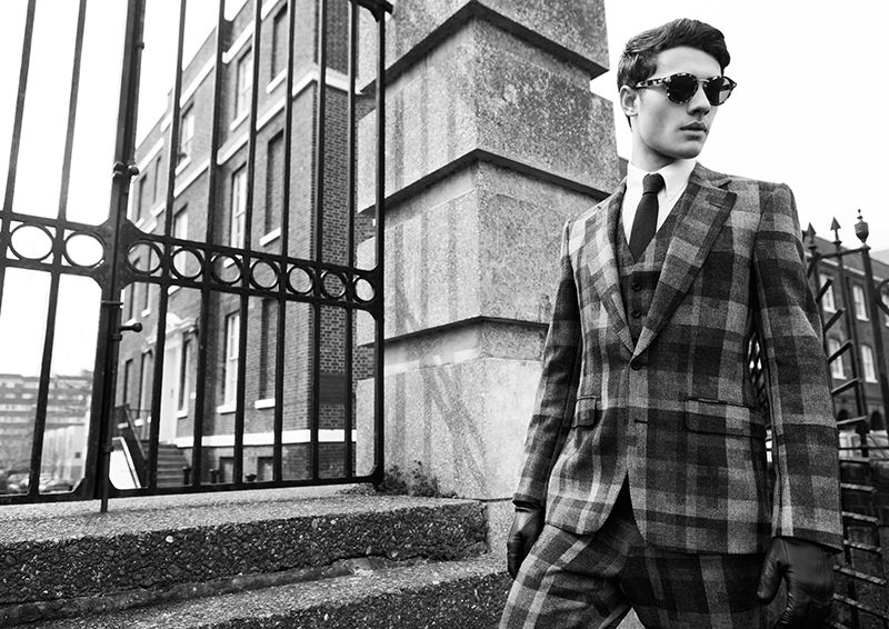 """Jordan Goodenough at Models 1 in """"London Calling"""" by Dennis Weber for the Fall Winter 2013-2014 collection of Hardy Amies by creative director Claire Malcolm"""