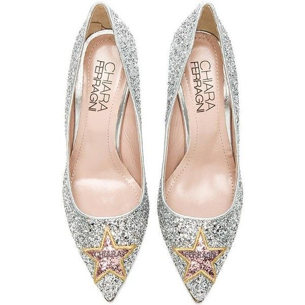 Chiara Ferragni Star Pump Shoes (1.360 RON) ❤ liked on Polyvore featuring shoes, pumps, heels, leather sole shoes, glitter shoes, high heel pumps, heels & pumps and glitter heel shoes