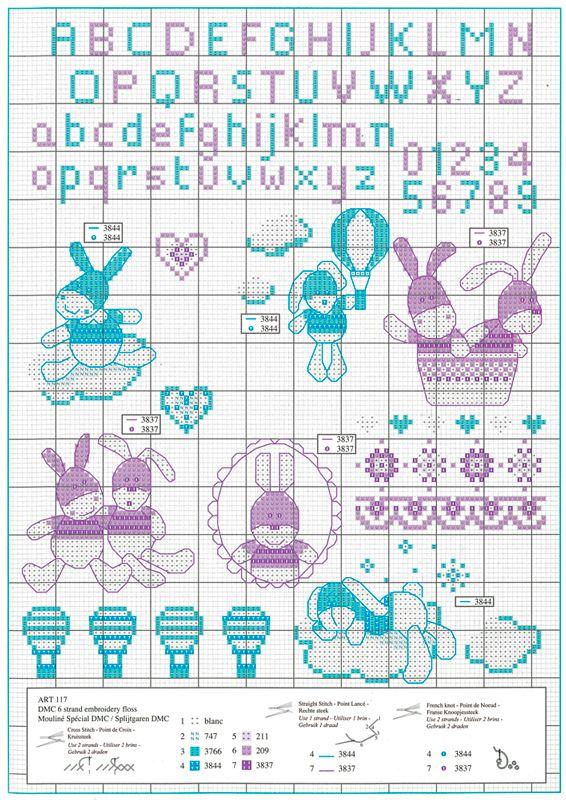 Vente flash DMC Gigoteuse à personnaliser pour un cadeau naissance   Alphabet point de croix ...