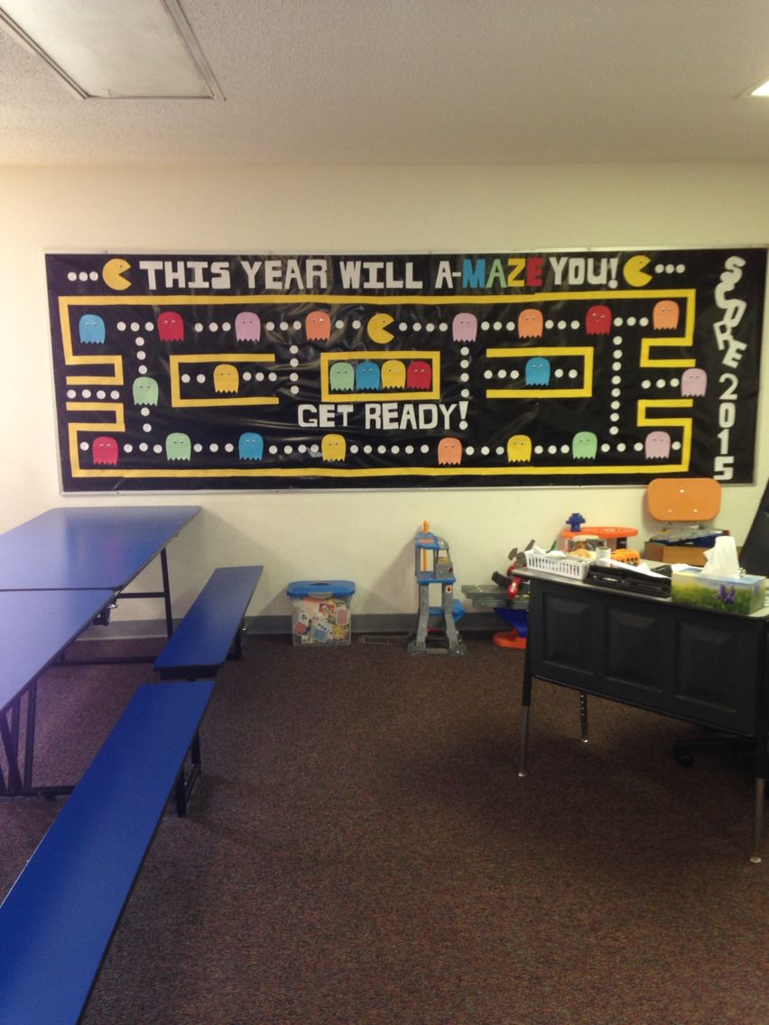 Classroom Game Ideas ~ Summer bulletin board pac man ideas