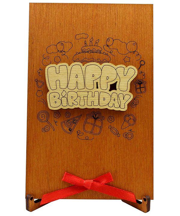 Real Wood happy birthday Card - Gift for him boyfriend men women her girlfriend #Handmade #Birthday