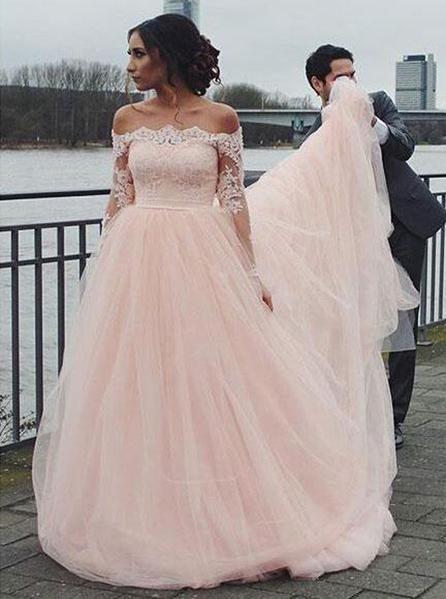 Blush Wedding Dresses Off The Shoulder Wedding Dress Wedding Dress With Sleeves Wd00133 Blush Pink Wedding Dress Ball Gowns Wedding Long Wedding Dresses