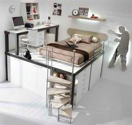 Camas y escritorio para ahorrar espacio | Ahorrar espacio ...