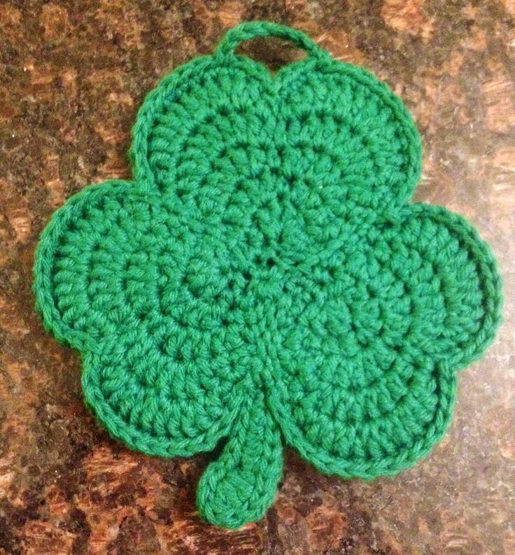 crochet clover | Crochet shamrock potholder | Yarny crafts ...